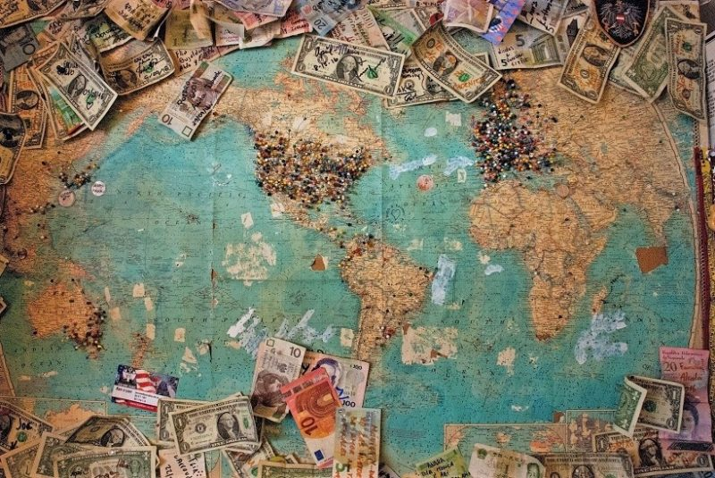 Money on World Map