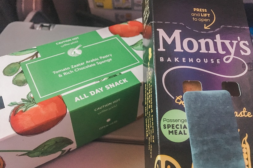 Qatar Airways vegetarian snack
